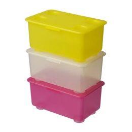 ГЛИС Контейнер с крышкой, розовый/белый, желтый, 17 x 10 см, 3 шт