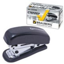 """Степлер BRAUBERG """"Nero"""" №10, мини, до 12 л., пласт. корпус, метал. мех., встр. антистеплер, черный"""