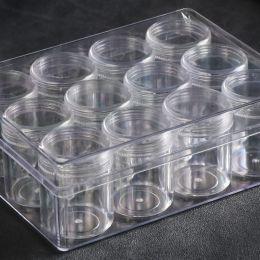 Набор для хранения (пластиковый бокс + 12 больших баночек 4,8*3,7 см)