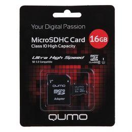 Карта флэш-памяти MicroSD 16 Гб Qumo +SD адаптер (class 10) UHS-1