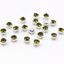 Шатоны Preciosa Olivine /оправа серебро ss16/3,8-4,0 мм 15 шт (Чехия)