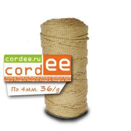 Шнур Cordee с золотым люрексом, ПЭ4 мм, 100 м. цв.: 36 молочный