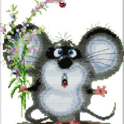 Вышивка крестом ''Ушастый мышь'', 28х30 см