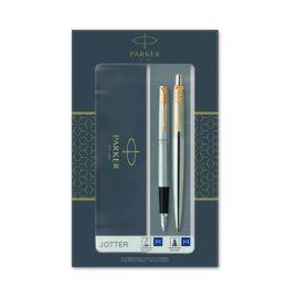 2093257 Подарочный набор из 2-х ручек Parker Jotter Stainless Steel GT перьевая+шариковая ручки