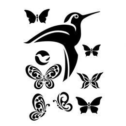 """Трафарет """"Сонет"""" Колибри и бабочки"""