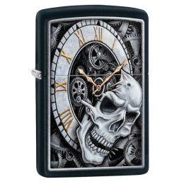 Зажигалка ZIPPO Skull Clock Design с покрытием Black Matte, латунь/сталь, чёрная, матовая