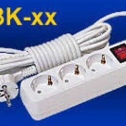 """Удлинитель сетевой """"TOKER'' 3R3K 3-местн. (2м, ПВС 3*0,75, с кнопкой вкл./выкл., с з/з)"""