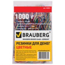 Резинки для денег Brauberg, 1 кг, диаметр 60 мм, цветные 440051