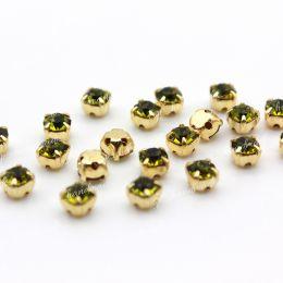 Шатоны Preciosa Olivine /оправа золото ss16/3,8-4,0 мм 15 шт (Чехия)