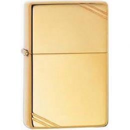 Зажигалка ZIPPO Vintage™ Series 1937 с полосками, с покрытием High Polish Brass, латунь/сталь, золотистая, глянцевая