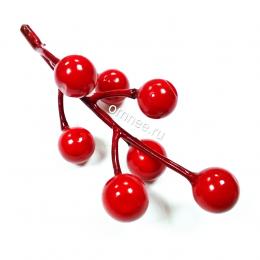 Ягоды на веточке 10 см, цв.: красный