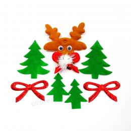 Новогодний набор ''Оленёнок, Ёлки, банты'', 7 элементов, 3-5 см.