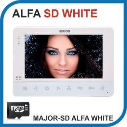 MAJOR ALFA WHITE версия SD. Видеодомофон 7 дюймов. Micro SD 32Gb. 2 панели - 2 аудио трубки.