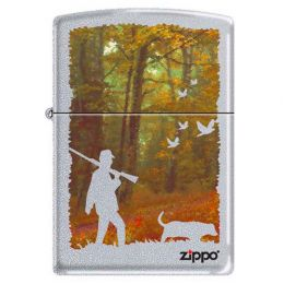 Зажигалка ZIPPO Осенняя охота, с покрытием Satin Chrome™, латунь/сталь, серебристая, матовая