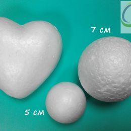 Пенопластовое сердце, диаметр 10 см