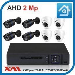 Комплект видеонаблюдения на 8 камер XMEye-KIT842AHD750PB/300PW-8.