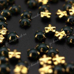 Полужемчужины пришивные Preciosa MALACHITE / оправа золото / Maxima 4 мм 15 шт (Чехия)