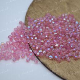 Граненые бусины Firepolished / Milky Pink AB 3 мм. 50 шт, Чехия