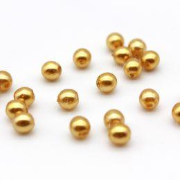Жемчуг стеклянный перламутровый золотой 4 мм 20 шт (Чехия)