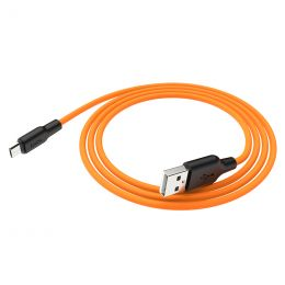 Кабель MicroUSB, 2.4A, HOCO X21 Plus, black+orange