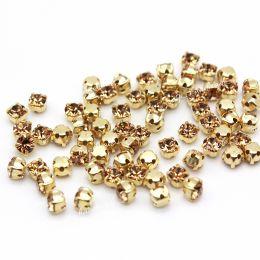 Шатоны Preciosa Light Col Topaz/оправа золото ss16/3,8-4,0 мм 20 шт (Чехия)