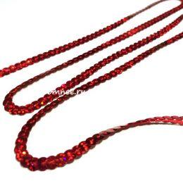Пайетки на нитях (голограмма) 6 мм, цв.: красный