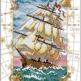 Вышивка крестом ''Корабль, карта'', 28х39 см