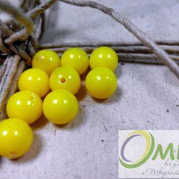 Бусины пластиковые, желтые, 8 мм, уп. 10 шт