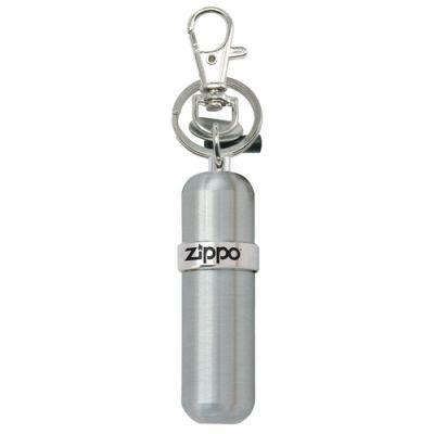 Брелок с баллончиком для топлива ZIPPO алюминий с диском для затягивания винта кремня и резиновым чехлом для двух кремней серебристый