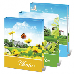 """Фотоальбом BRAUBERG на 36 фотографий 10х15 см, твердая обложка, """"Летний пейзаж"""", ассорти, 390656"""