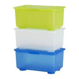 ГЛИС Контейнер с крышкой, белый/светло-зеленый, синий, 17 x 10 см, 3 шт