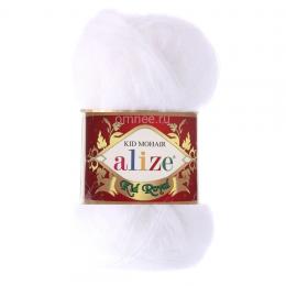 Alize Kid Royal 50, цв.: 55 белый, 62 % Кид мохер, 38% полиамид, 50 гр. 500 м.