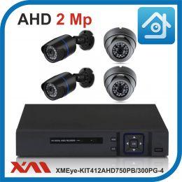 Комплект видеонаблюдения на 4 камеры XMEye-KIT412AHD750PB/300PG-4.