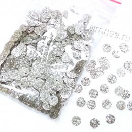 Пайетки с глиттером пришивные ''круг'' , цв.: серебро 1003, 6 мм, 10 гр.