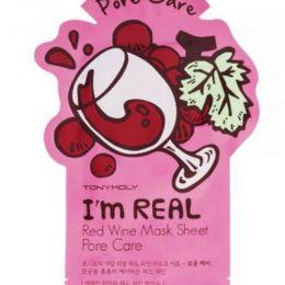 TONY MOLY I AM REAL Тканевая маска сужающая поры (красное вино). 21 мл