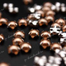 Полужемчужины Preciosa BRONZE / оправа серебро / Maxima 4 мм 15 шт (Чехия)