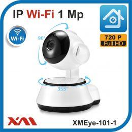 XMEye-101-1.(Пластик/Белая). 720P. 1Mpx. Камера видеонаблюдения поворотная IP Wi-fi.