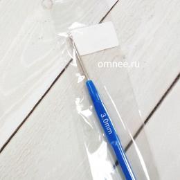 Крючок вязальный №3 стальной с пластиковой ручкой, шт.