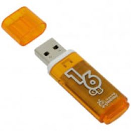 "Память Smart Buy ""Glossy"" 16GB, USB 2.0 Flash Drive, оранжевый"