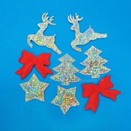 Новогодний набор ''ёлка, звёзды, банты, олени'', 8 элементов, 3-4см.