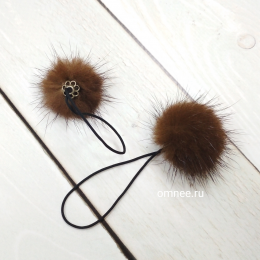 Помпон из меха норки на шнурке, d 3-4 см