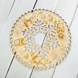 Круг резной 20 см ''Снежинка'', 3 мм, дерево, заготовка для обвязывания
