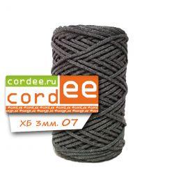 Шнур Cordee, ХБ 3 мм, цв.:07 т.серый
