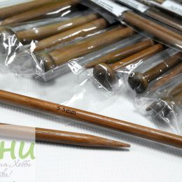 Прямые бамбуковые спицы с наконечником, 35 см № 3,75