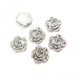 """Кабошон (серединки) """"серебряный цветок"""", акрил, 15 мм"""
