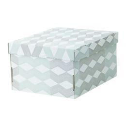 СМЕКА Коробка с крышкой, белый, с рисунком, 25 х 32 х 17 см