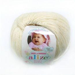 Alize BABY WOOL 01, 40% шерсть, 40 % акрил, 20% бамбук, 50 гр. 175 м.