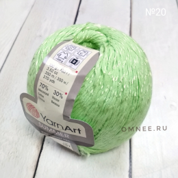 YarnArt summer 20 (зелёное яблоко), 70% мерсеризованный хлопок, 30% вискоза, 100гр., 350 м.