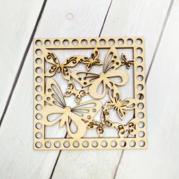 Квадрат резной (бабочки)12 см, 3 мм, дерево, заготовка для обвязывания