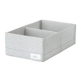 СТУК Ящик с отделениями, белый/серый, 20 х 34 х 10 см